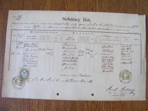 oddací list Jana Lányho a Roziny Schulekové z r. 1881